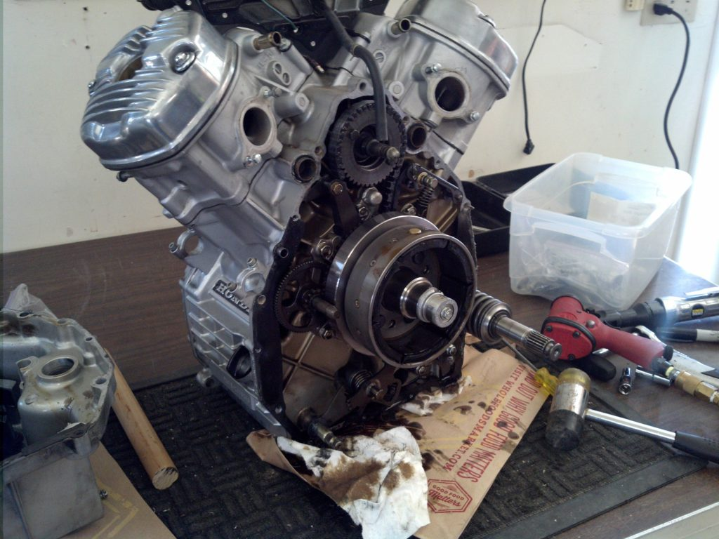 CX500 engine with rear cover off